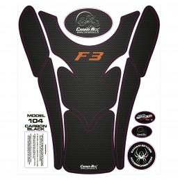 F3 TANK PADS - CRYSTAL EPOXY 104 Carbon Black F3 Orange